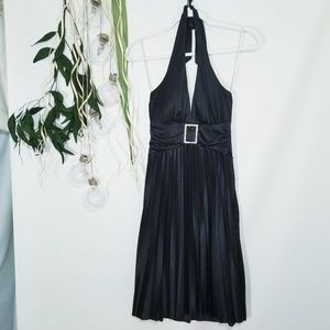 Speechless Black Satin Halter Dress Mini